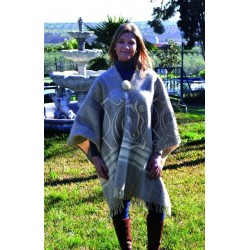 Poncho gala lana marrón/beige